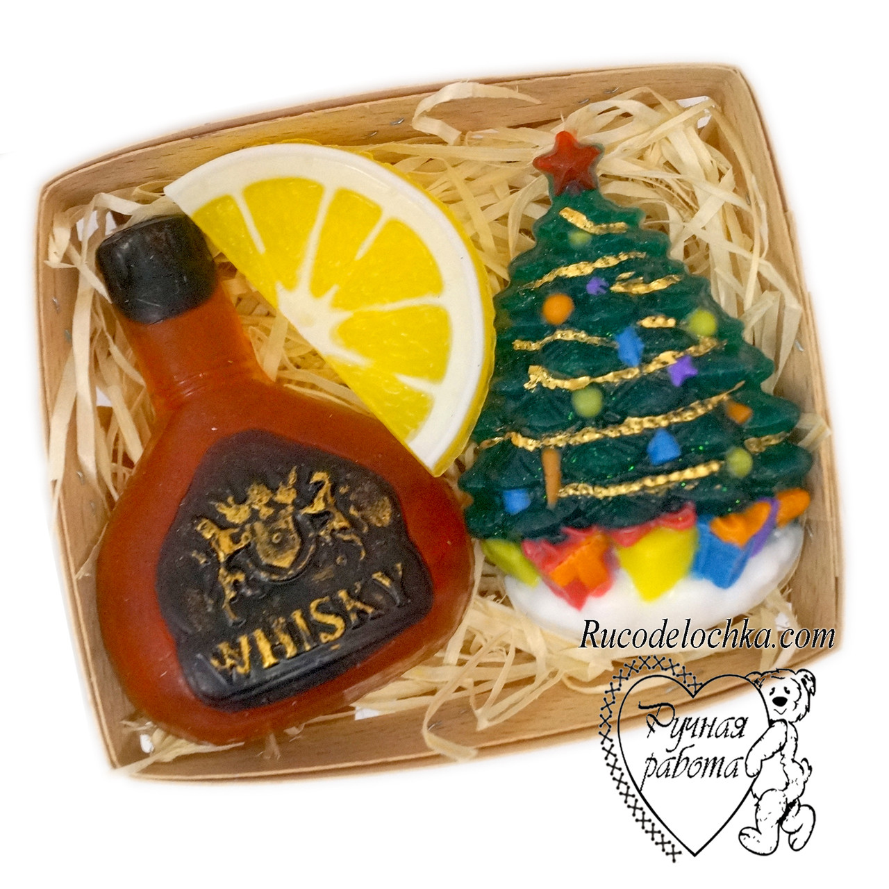 Мило новорічне чоловіче в наборі, новорічний подарунок, віскі, лимон, ялинка