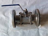 Кран шаровой трехсоставной фланцевый нержавеющий, Ду 50 / шар-нж сталь 304 / PTFE / PN40