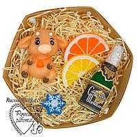 Мыло новогоднее, новогодний подарок, бычок, шампанское, дольки лимон и апельсин, снежинка