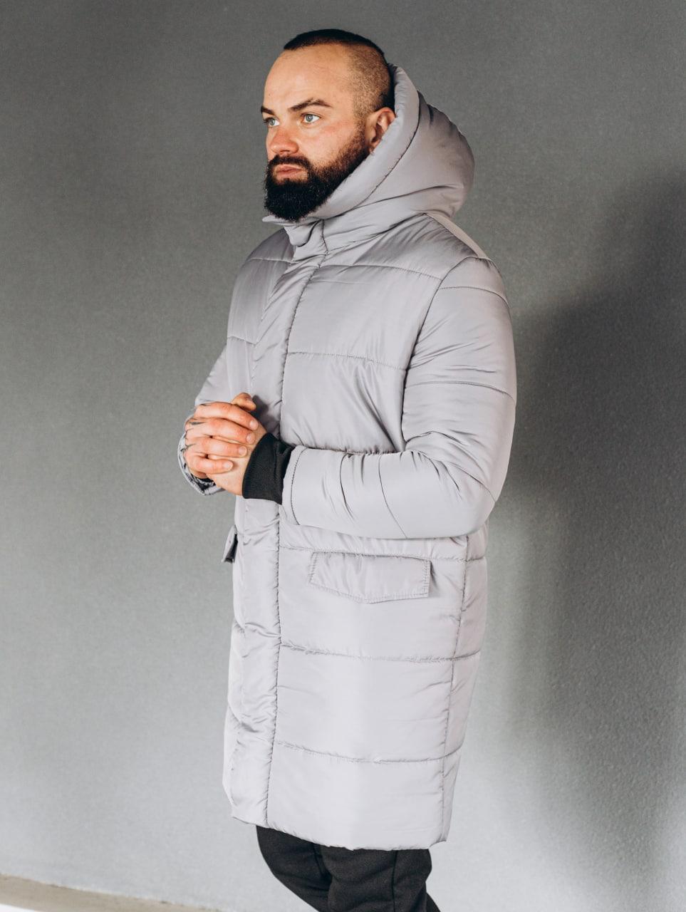 😜 Куртка - Мужскаяя теплая зимняя куртка серая силикон