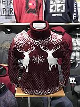Тёплый мужской свитер-гольф с оленями  М-2XL большой ассортимент,разные цвета и орнаменты, фото 2