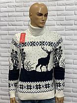 Тёплый мужской свитер-гольф с оленями  М-2XL большой ассортимент,разные цвета и орнаменты, фото 3