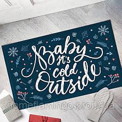 """Новогодний коврик придверный с принтом """"Baby its cold outside"""" на резиновой основе 45 х 75 х 0,4 см"""