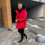 😜 Куртка - Мужскаяя зиняя куртка парка красного цвета, фото 2