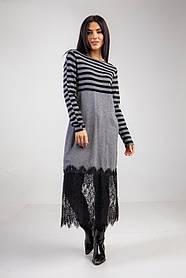 Свободное трикотажное платье-туника с французкимкружевом в сером цвете в размере S/M M/L.