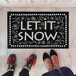 """Новогодний коврик придверный с принтом """"Let it snow"""" на резиновой основе 45 х 75 х 0,4 см"""