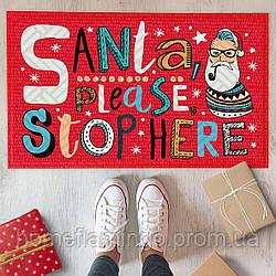 """Новогодний коврик придверный с принтом """"Santa please stop here"""" на резиновой основе 45 х 75 х 0,4 см"""