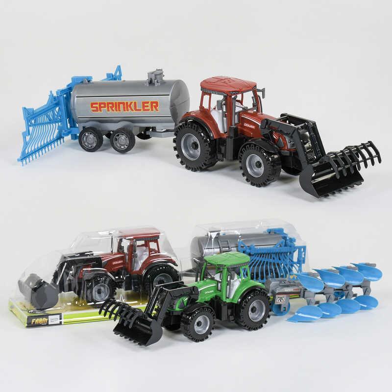 Трактор с прицепом 0488-408 /0488-413 (36/2) инерция, 2 вида, в слюде