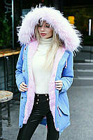 Зимняя теплая женская парка с меховым капюшоном: 42-44, 44-46, 46-48, 50-52 черный, голубой, синий, беж, хаки