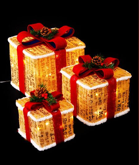 Новогодний светящийся Подарок, 45 см, золото с белым
