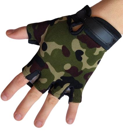 Детские тактические перчатки беспалые цвет камуфляж, фото 2