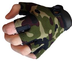 Детские тактические перчатки беспалые цвет камуфляж, фото 3