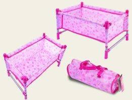 Кровать манеж для пупсов Baby Born и аналогов с постельюи сумкой, металлический каркас, 43х25х24 см CS7860