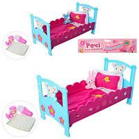 Кроватка для кукол-пупсов Baby Born и аналогов с постелью и аксессуарами, M 3836-07, 50х27 см