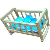 Кроватка колыбель игрушечная из дерева с постелью, 40х26х20 см,  00210