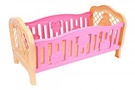 Кроватка для куклы пластиковая 45х26х24 см, 4517TXK Розовая