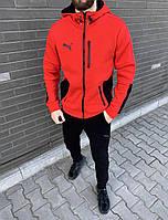 Мужской теплый спортивный костюм с капюшоном кофта на молнии