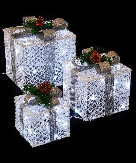Новогодний светящийся Подарок, 45 см, белый