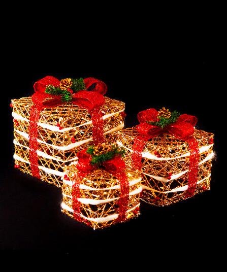 Новогодний светящийся Подарок, 45 см, золото с красным