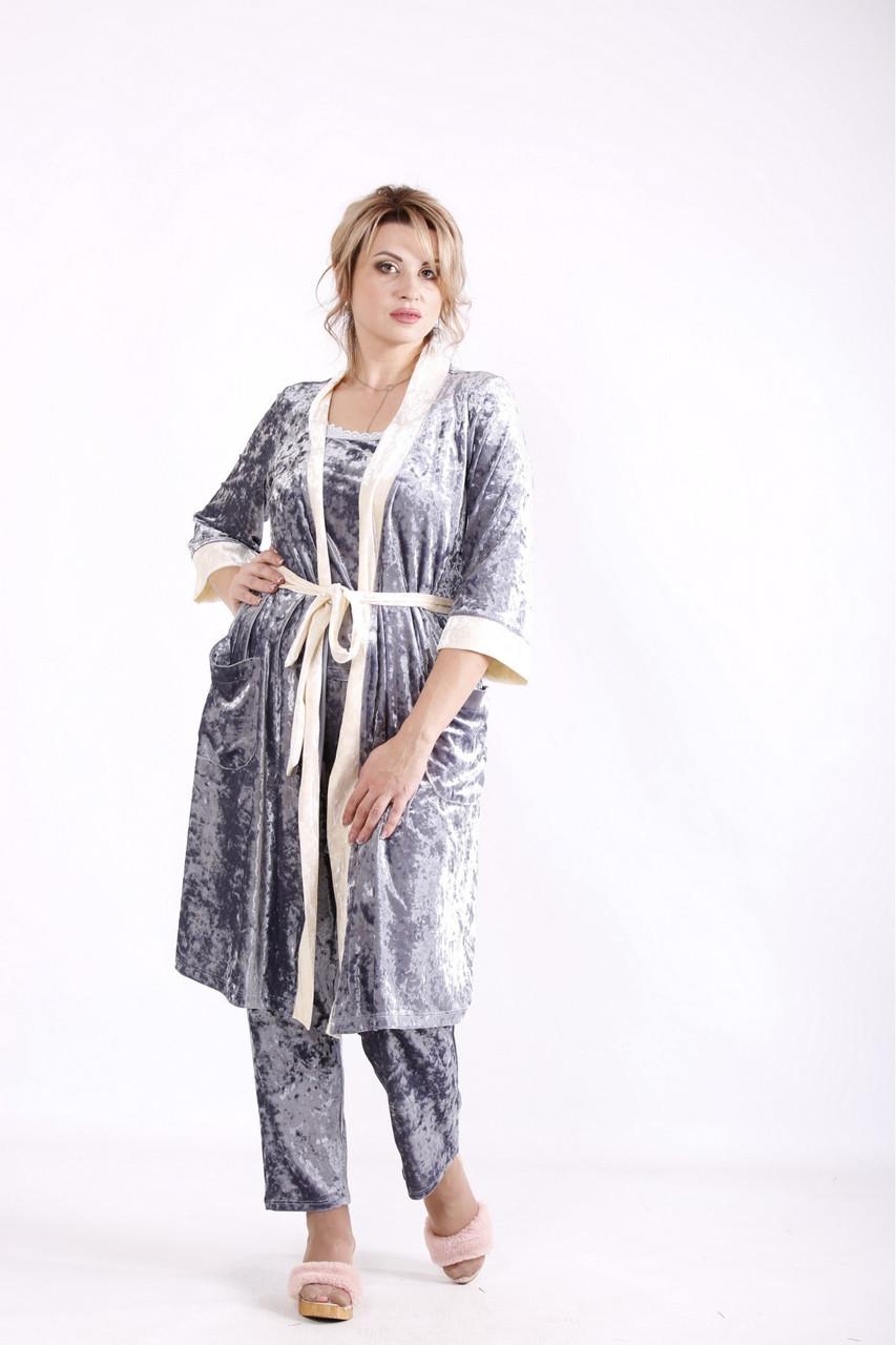 Велюровий сірий халат жіночий домашній батал 42-74 01671-3