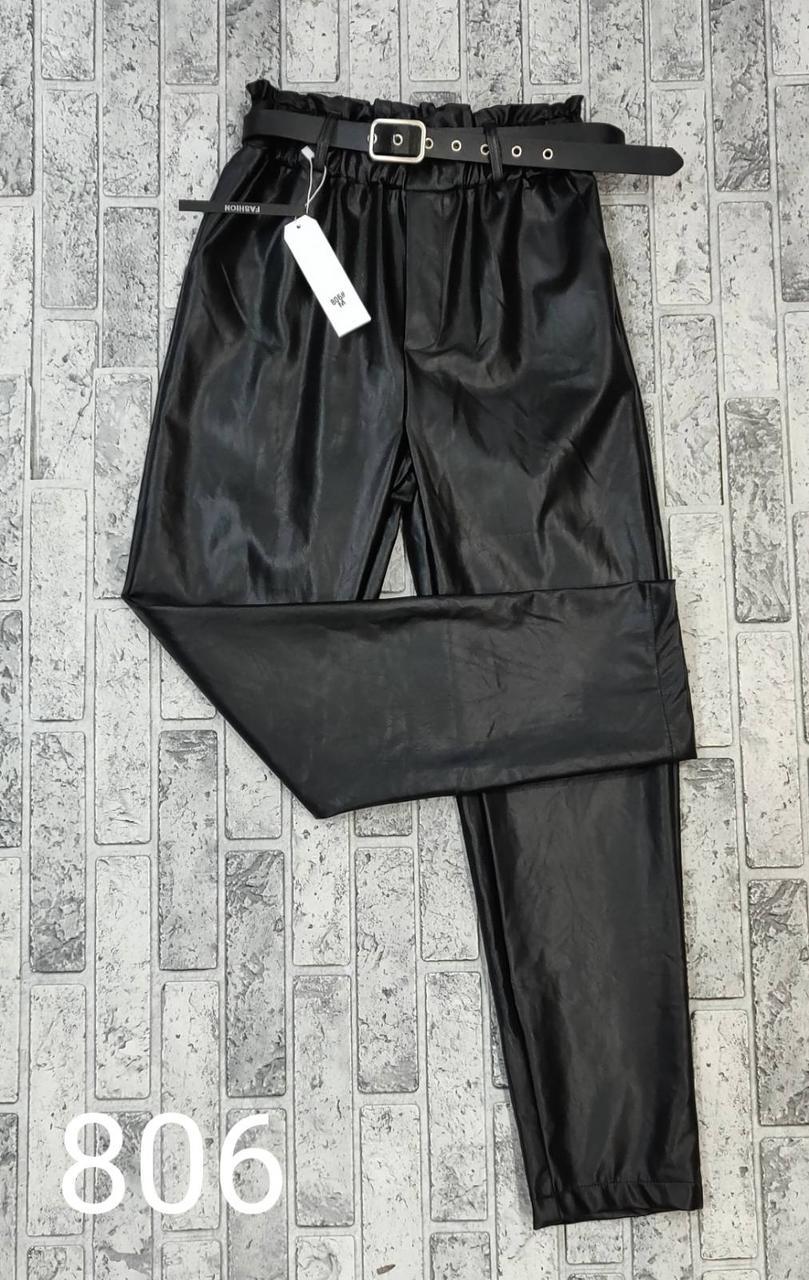 Женские кожаные брюки-джогерры с поясом (M-XL)