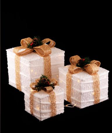 Новогодний светящийся Подарок, 45 см, белый с золотом