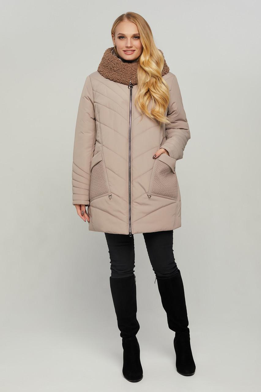 Женская зимняя теплая куртка с мехом больших размеров 54-64