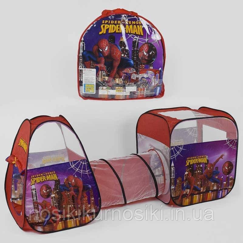 Палатка детская игровая с тоннелем Человек паук 8015, размер 270-92-92 см, в сумке