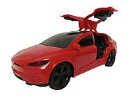 Машина Тесла на радиоуправлении 3056 красная, аккум, 1:24, 19см, открываются двери, USB зарядное