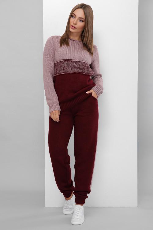 Женский двухцветный вязаный костюм фрез-марсала 44-50