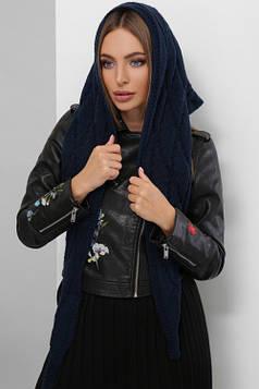 Женская вязаная косынка темно-синяя