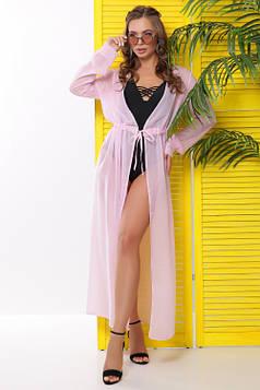 Яркая и легкая пляжная туника из шифона розовая 46-48