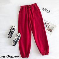 Червоні штани джоггеры на флісі, фото 1