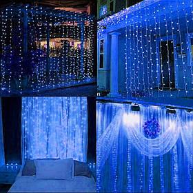 Гирлянда штора уличная наружная с пультом управления Springos 3 x 3 м 306 LED Pilot синяя