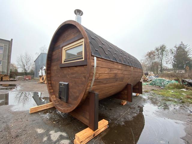 Деревянная баня бочка круглая 2,4х4,0 м из термобруса