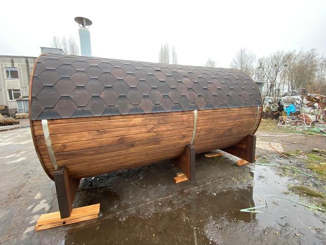 Деревянная баня бочка круглая 2,4х4,0 м из термобруса 3