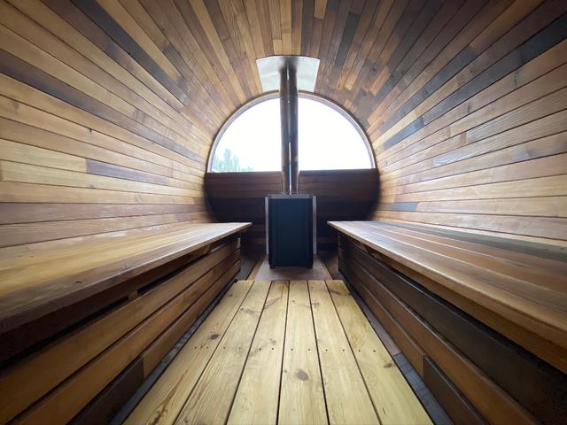 Деревянная баня бочка круглая 2,4х4,0 м из термобруса 7