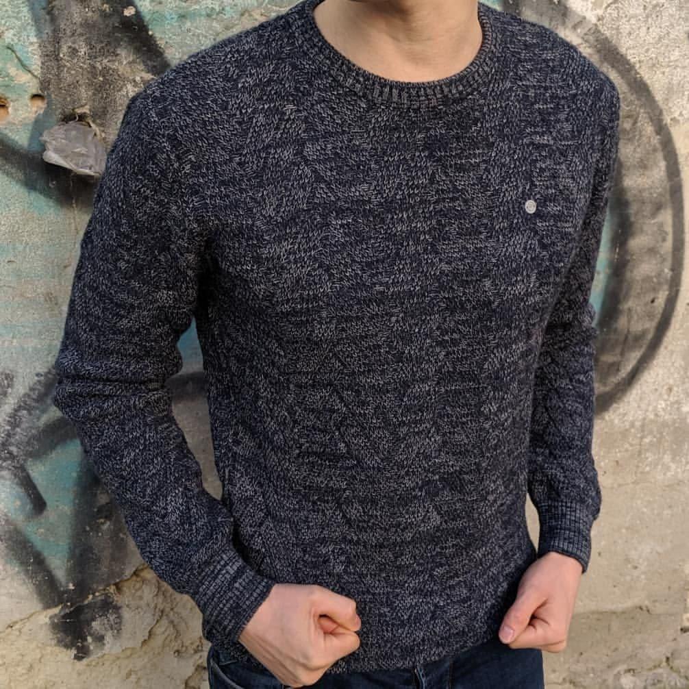 Мужской теплый свитер CK1520 темно-серый