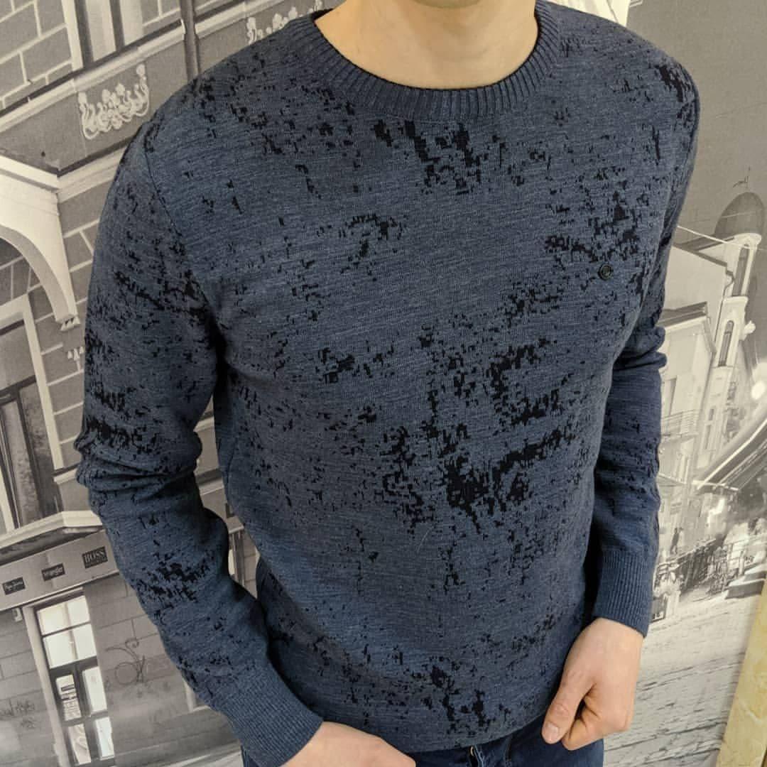 Мужской теплый свитер CK1522 темно-серый