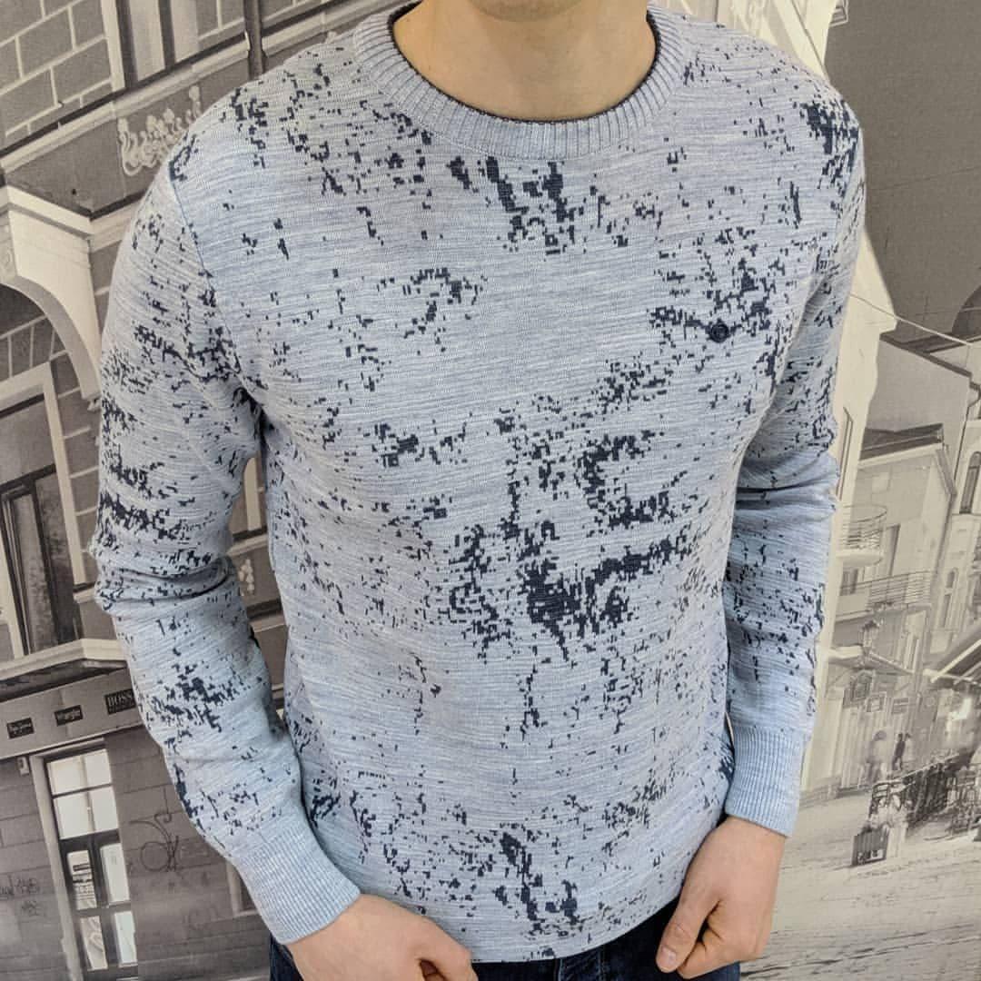 Мужской теплый свитер CK1523 светло-серый