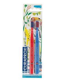 Набор зубных щеток Curaprox CS Smart/2 Jungle, (5-12 лет) (2 шт.) 04 Красный - Синий
