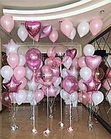 """Композиция с шаров """"Розовая мачта"""" набор 76 шаров"""