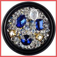 Камни для декора ногтей Lpnails синие микс №1