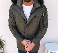Парка мужская TORNADO зимняя хаки. Куртка удлиненная теплая р. XS, XL