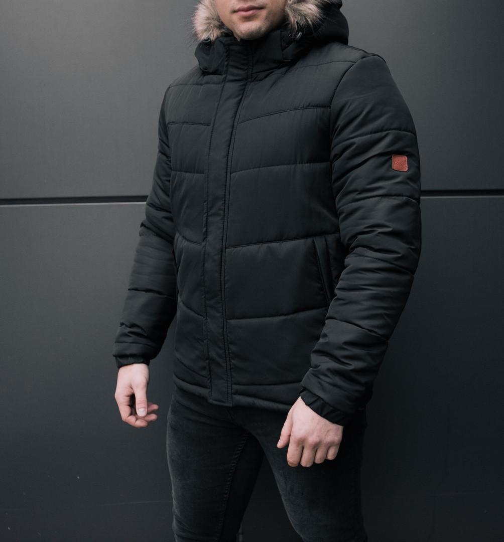 Стильная мужская куртка Winner черная зимняя. Куртка удлиненная. Теплая курточка