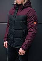Стильная мужская куртка Winner черная с бордовым. Куртка удлиненная зимняя. Теплая курточка, фото 1