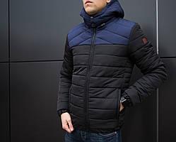 Зимняя мужская куртка Raiseчерная с синим. Курточка теплая
