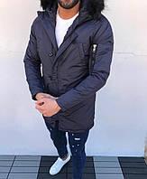 Парку чоловіча TORNADO синя зимова. Куртка подовжена. Тепла курточка р. S, M, XL