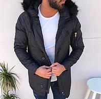 Парка мужская TORNADO черная зимняя. Куртка удлиненная. Теплая курточка р. S, L