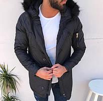 Парка мужская TORNADO черная зимняя. Куртка удлиненная. Теплая курточка р. S,L